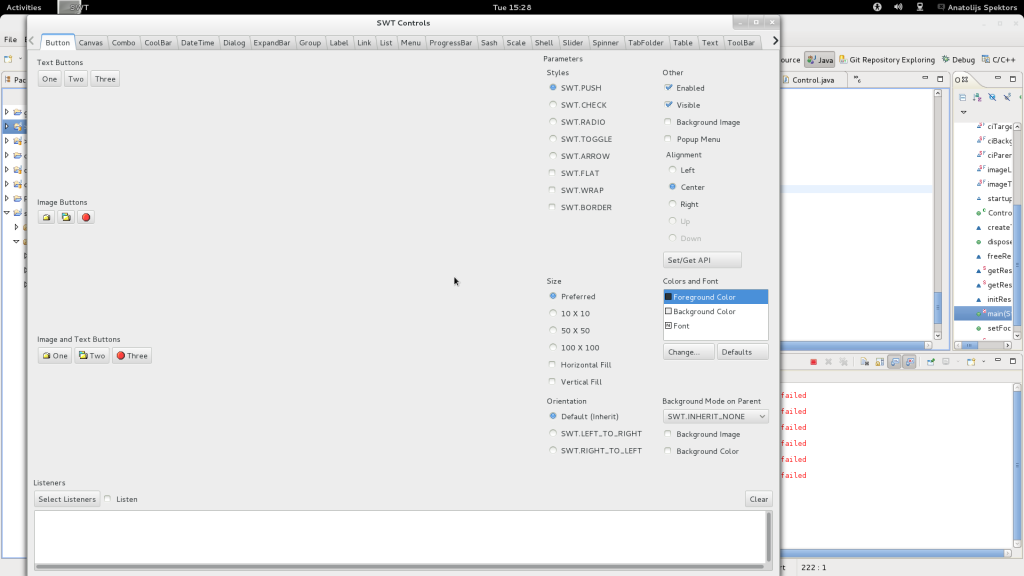 ControlExample picture running on GTK 3